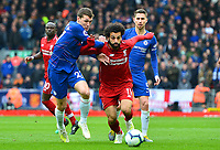 Liverpool's Mohamed Salah vies for possession with Chelsea's Andreas Christensen<br /> <br /> Photographer Richard Martin-Roberts/CameraSport<br /> <br /> The Premier League - Liverpool v Chelsea - Sunday 14th April 2019 - Anfield - Liverpool<br /> <br /> World Copyright © 2019 CameraSport. All rights reserved. 43 Linden Ave. Countesthorpe. Leicester. England. LE8 5PG - Tel: +44 (0) 116 277 4147 - admin@camerasport.com - www.camerasport.com