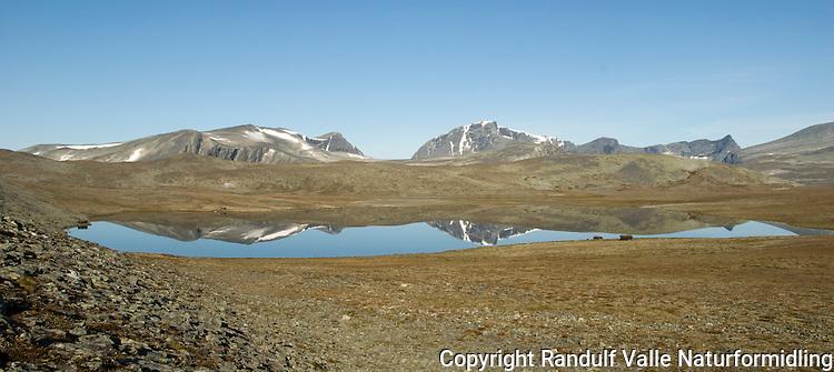 Enøvlingsvatnet i Dovrefjell med Skredahøin og Svånåtindan i bakgrunnen ----- Lake in Dovrefjell