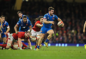 17th March 2018, Principality Stadium, Cardiff, Wales; NatWest Six Nations rugby, Wales versus France; Marco Tauleigne of France breaks the attempted tackle by Josh Navidi of Wales