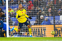 9th November 2019; King Power Stadium, Leicester, Midlands, England; English Premier League Football, Leicester City versus Arsenal; Pierre-Emerick Aubameyang of Arsenal is disconsolate after a goal is disallowed for offside - Strictly Editorial Use Only. No use with unauthorized audio, video, data, fixture lists, club/league logos or 'live' services. Online in-match use limited to 120 images, no video emulation. No use in betting, games or single club/league/player publications