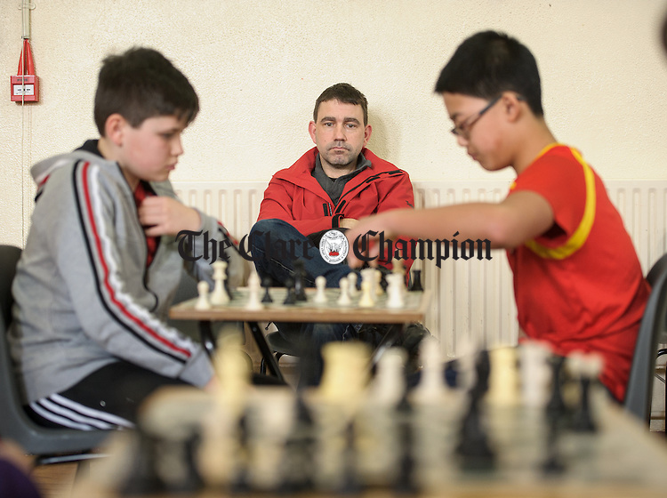 John Kelly of Sixmilebridge looking on at the Clare Community games chess county finals in St Flannan's college, Ennis. Photograph by John Kelly.