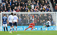 Preston North End's Daniel Johnson scores his side's equalising goal from the penalty spot to make the score 2 - 2<br /> <br /> Photographer Rich Linley/CameraSport<br /> <br /> The EFL Sky Bet Championship - Preston North End v Blackburn Rovers - Saturday 26th October 2019 - Deepdale Stadium - Preston<br /> <br /> World Copyright © 2019 CameraSport. All rights reserved. 43 Linden Ave. Countesthorpe. Leicester. England. LE8 5PG - Tel: +44 (0) 116 277 4147 - admin@camerasport.com - www.camerasport.com