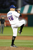 Buffalo Bisons pitcher Gustavo Chacin #46 during a game against the Syracuse Chiefs at Coca-Cola Field on September 1, 2011 in Buffalo, New York.  Syracuse defeated Buffalo 6-2.  (Mike Janes/Four Seam Images)