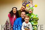 Ray and Nathan Walsh with the 3 characters, Blathaín Kate Finnegan, Jim Daly and Emma Poole from the Hatch Fidget Feet group show in Siamsa Tire on Saturday.