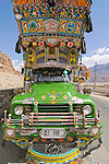 A highly decorated truck on the Karakoram Highway in Pakistan
