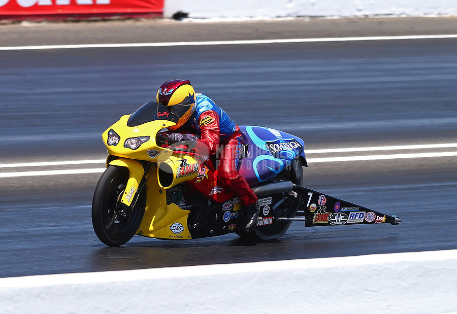 Jun. 1, 2013; Englishtown, NJ, USA: NHRA pro stock motorcycle rider Scotty Pollacheck during qualifying for the Summer Nationals at Raceway Park. Mandatory Credit: Mark J. Rebilas-