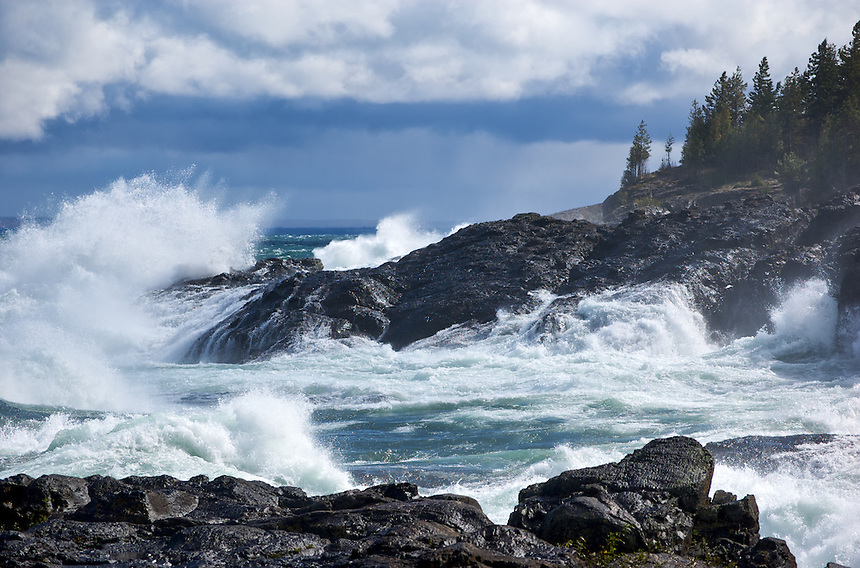 Massive waves on Lake Superior creates a dramatic scene as they meet the shoreline. Marquette, MI Upper Peninsula