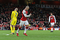 Jack Wilshere of Arsenal (2nd left) celebrates after he scores his team's third goal of the game to make the score 3-0 during the UEFA Europa League match between Arsenal and FC BATE Borisov  at the Emirates Stadium, London, England on 7 December 2017. Photo by David Horn.