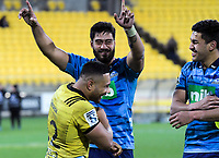 Akira and Rieko Ioane chat with Ngani Laumape (left) after during the Super Rugby match between the Hurricanes and Blues at Westpac Stadium in Wellington, New Zealand on Saturday, 7 July 2018. Photo: Dave Lintott / lintottphoto.co.nz