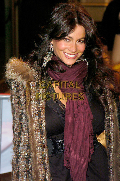 "SOFIA VERGARA.At the Premiere of ""Ghost Rider"" held at Lowes 42nd Street E-Walk Theater, New York, New York, USA, .15 February 2007..half length brown fur coat.CAP/ADM/BL.©Bill Lyons/AdMedia/Capital Pictures. *** Local Caption ***"