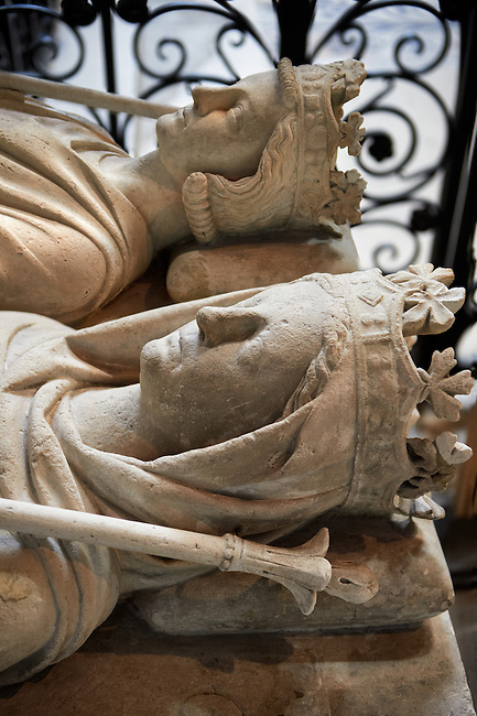 Medieval tomb of Philippe (1116 - 1131) son of Louis VI le Gros and Adelaide of Savoie and Constance of Castille (1136 - 1160) Queen of France and second wife of Louis II le Jeune.  . The Gothic Cathedral Basilica of Saint Denis ( Basilique Saint-Denis ) Paris, France.