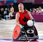 Lima, Peru -  23/August/2019 -   in action as Canada takes on Argentina in wheelchair rugby at the Parapan Am Games in Lima, Peru. Photo: Dave Holland/Canadian Paralympic Committee.