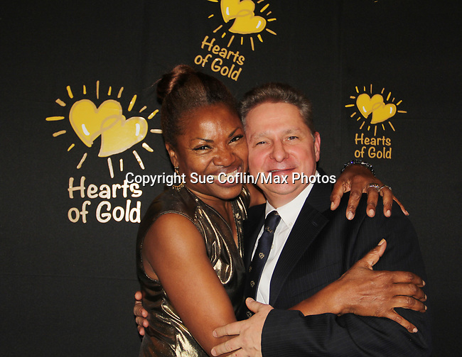 Deborah Koenigsberger - Founder & CEO of Hearts of Gold with her husband Thilo  at annual All That Glitters Gala - 24 years of support to New York City's homeless mothers and their cildren - (VIP Reception - Silent Auction) was held on November 7, 2018 at Noir et Blanc and the 40/40 Club in New York City, New York.  (Photo by Sue Coflin/Max Photo)