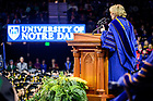 May 19, 2019; Peggy Noonan gives the main address at the 2019 Notre Dame Commencement ceremony. (Photo by Matt Cashore/University of Notre Dame)