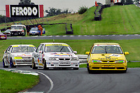 Round 12 of the 1993 British Touring Car Championship. Alain Menu in a Renault 19, Jeff Allam in a Vauxhall Cavalier and Rob Gravett in a Peugeot 405.