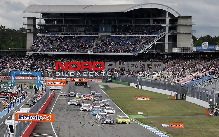 DTM 2015, 01.Lauf Hockenheimring, 01.05. - 03.05.15 <br /> Start zum 2. Rennen der DTM<br /> Mattias Ekstr&ouml;m (SWE#5) Audi Sport Team Abt Sportsline Audi RS 5 DTM , Mike Rockenfeller (DEU#99) Audi Sport Team Phoenix Audi RS 5 DTM <br /> <br /> <br /> Foto &copy; nordphoto /  Bratic