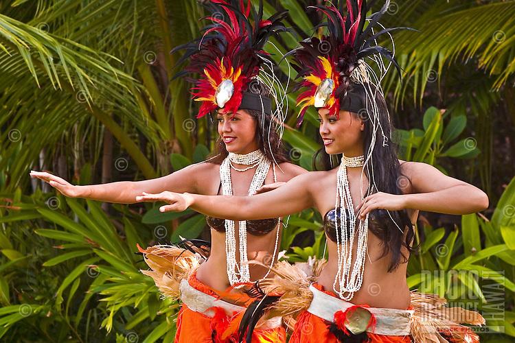 Traditional Tahitian dancers, Oahu, Hawaii