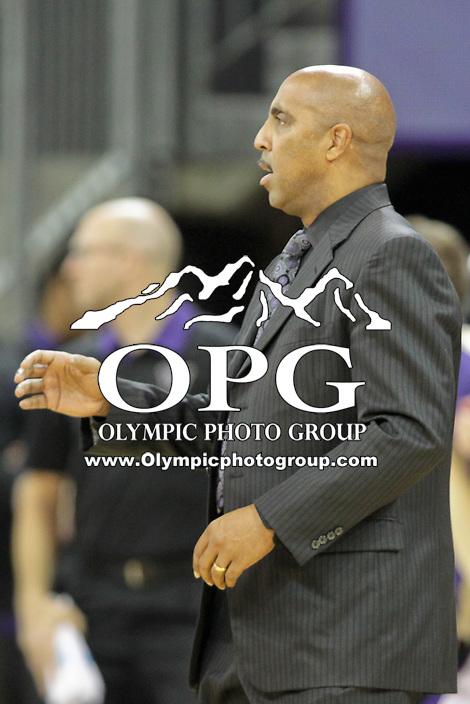 DEC 22, 2015:  Washington head coach Lorenzo Romar against Seattle University. Washington defeated Seattle University 79-68 at Alaska Airlines Arena in Seattle, WA.