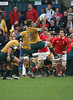 Australian flanker Ben McCalman claims this lineout ball during the Division A 3rd/4th place clash at Ravenhill, Belfast. Result Australia 25 Wales 21.