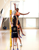 14.10.2014 Silver Ferns Bailey Mes in action at the Silver Ferns Training ahead of their netball test match in Auckland tomorrow night. Mandatory Photo Credit ©Michael Bradley.