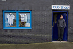 Chester City 1 Altrincham 3, 21/11/2009. Deva Stadium, Football Conference. A member of staff at the waiting for customers at the club shop at the Deva Stadium, Chester, home of Chester City Football Club, before kick-off in the club's Blue Square Premier fixture against Cheshire rivals Altrincham. The visitors won by three goals to one. Chester were in administration at the start of the season and were penalised 25 points before the season began. Photo by Colin McPherson.