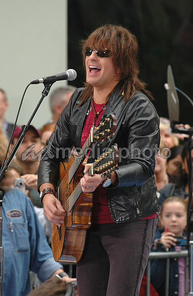 23 September 2005 - New York, New York - Richie Sambora performs in concert with his band Bon Jovi on the NBC Today Show in Rockefeller Plaza.  <br />