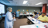 NWA Democrat-Gazette/BEN GOFF @NWABENGOFF<br /> Dr. Rita Littrell, director of the Bessie B. Moore Center for Economic Education, talks Tuesday, July 9, 2019, during the Empowering  Entrepreneurship Education workshop at the University of Arkansas Global Campus in Rogers.