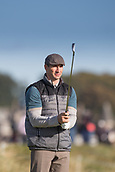 6th October 2017, Carnoustie Golf Links, Carnoustie, Scotland; Alfred Dunhill Links Championship, second round; Former World heavyweight boxing champion Wladimir Klitschko on the 2nd tee on the Championship Links, Carnoustie during the second round at the Alfred Dunhill Links Championship