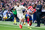 Thomas Lemar of Atletico de Madrid and Dani Carvajal of Real Madrid during La Liga match between Atletico de Madrid and Real Madrid at Wanda Metropolitano in Madrid Spain. February 09, 2018. (ALTERPHOTOS/Borja B.Hojas)