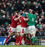 8th February 2020; Aviva Stadium, Dublin, Leinster, Ireland; International Six Nations Rugby, Ireland versus Wales; the forwards have a difference of opinion as half time is called