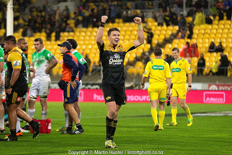 Beauden Barrett celebrates after the Super Rugby match between the Hurricanes and Highlanders at Westpac Stadium, Wellington, New Zealand on Friday, 27 May 2016. Photo: Martin Hunter/ lintottphoto.co.nz