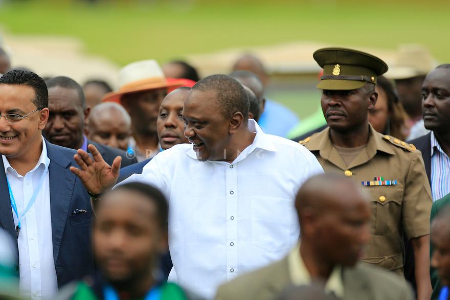 President of Kenya, Uhuru Muidai Kenyatta during the final round of the Barclays Kenya Open played at Muthaiga Golf Club, Nairobi, Kenya 22nd - 25th March 2018 (Picture Credit / Phil Inglis) 22/03/2018<br /> <br /> <br /> All photo usage must carry mandatory copyright credit (&copy; Golffile | Phil Inglis)
