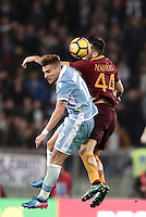 Calcio, Serie A: Roma, stadio Olimpico, 1marzo 2017.<br /> Roma's Kostas Manolas (r) in action with Lazio's Ciro Immobile (l) during the Italian TIM Cup 1st leg semifinal football match between Lazio and AS Roma at Rome's Olympic stadium, on March 1, 2017.<br /> UPDATE IMAGES PRESS/Isabella Bonotto