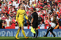 Chelsea goalkeeper, Thibaut Courtois embarrassingly looks to the sky after missing his penalty in the shoot-out during Arsenal vs Chelsea, FA Community Shield Football at Wembley Stadium on 6th August 2017