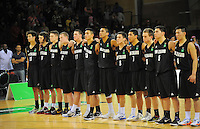 The Junior Tall Blacks line up for the national anthem during the 2012 FIBA Oceania Men's U19 Championship match between NZ Junior Tall Blacks and Australian Emus at Te Rauparaha Arena, Porirua, Wellington, New Zealand on Saturday, 22 September 2012. Photo: Dave Lintott / lintottphoto.co.nz