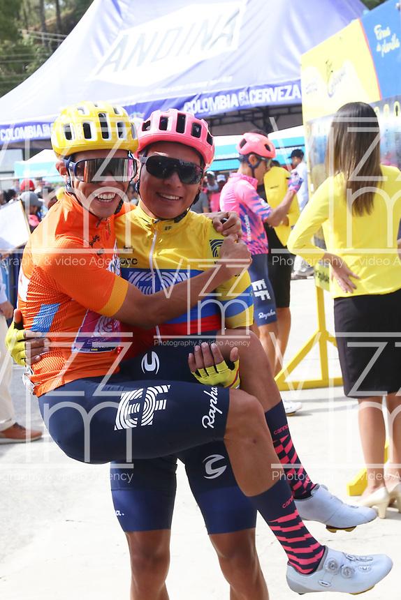 TUNJA - COLOMBIA, 15-02-2020: Sergio Higuita (COL),  Jonathan caicedo (ECU) EF EDUCATION FIRST, durante la quinta etapa del Tour Colombia 2.1 2020 con un recorrido de 180,5 km que se corrió entre Paipa, Boyacá, y Zipaquirá, Cundinamarca. / Sergio Higuita (COL), Jonathan Caicedo (ECU) EF EDUCATION FIRST, during the fifth stage of 180,5 km as part of Tour Colombia 2.1 2020 that ran between Paipa, Boyaca, y Zipaquirá, Cundinamarca.  Photo: VizzorImage / Darlin Bejarano / Cont