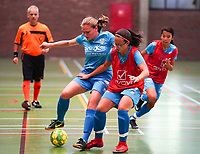 20190915– HALLE , BELGIUM : FP Halle-Gooik Girls A's Morgane Wijs is pictured in a duel with FP Halle-Gooik Girls B's player Blerina Nuhiji (in red) during the Belgian Women's Futsal D1 match between FP Halle-Gooik A and FP Halle-Gooik B on Sunday 15th 2019 at the De Bres Sport Complex in Halle, Belgium. PHOTO SPORTPIX.BE | Sevil Oktem