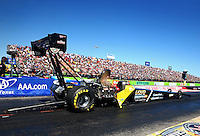 Sept. 21, 2013; Ennis, TX, USA: NHRA top fuel dragster driver Larry Dixon during qualifying for the Fall Nationals at the Texas Motorplex. Mandatory Credit: Mark J. Rebilas-