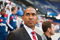 CD Chivas USA head coach Robin Fraser. The New York Red Bulls and CD Chivas USA played to a 1-1 tie during a Major League Soccer (MLS) match at Red Bull Arena in Harrison, NJ, on May 23, 2012.