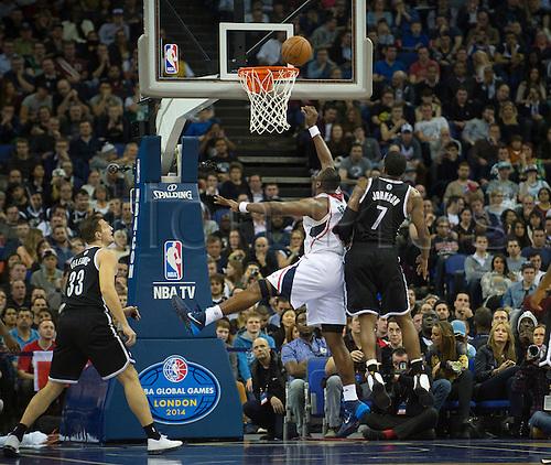 16.01.2014 London, England.  Atlanta Hawks' Forward Elton Brand [42] scores during the NBA regular season game between the Atlanta Hawks and the Brooklyn Nets from the O2 Arena.