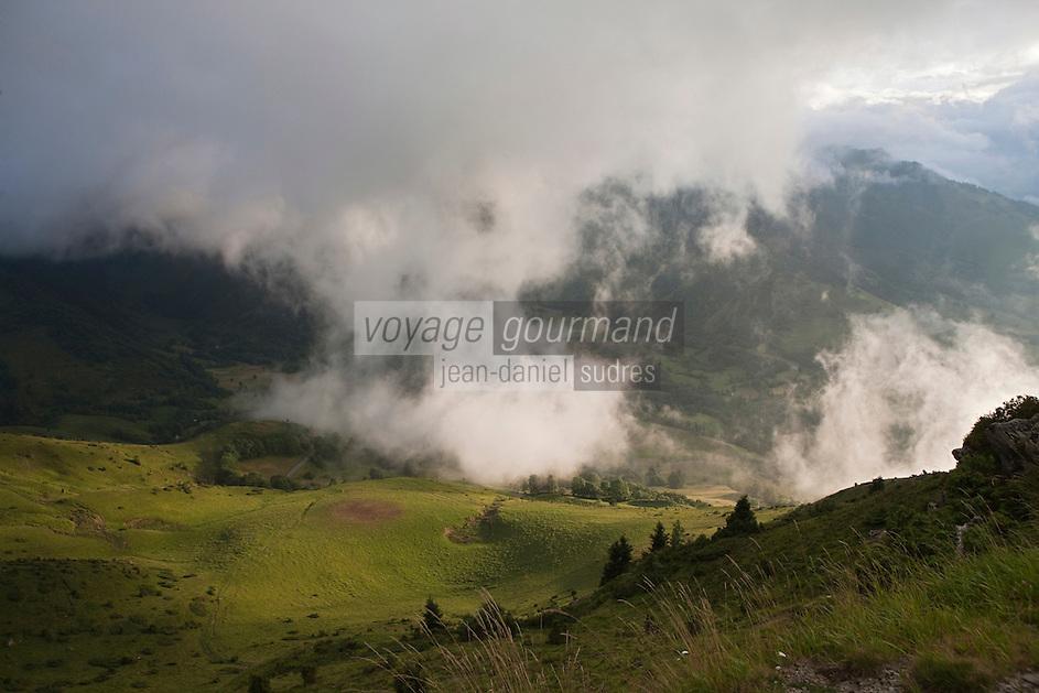 Europe/France/Midi-Pyrénées/65/Hautes-Pyrénées/Vallée d'Aure/Azet: Paturages de la Haute Vallée d'Aure vus depuis le col d'Azet, appelé aussi col de Val-Louron-Azet dans la lumière du soir