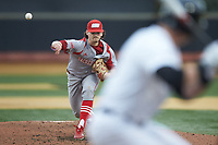 Sacred Heart Pioneers starting pitcher Brent Teller (24) delivers a pitch to the plate against the Wake Forest Demon Deacons at David F. Couch Ballpark on February 15, 2019 in  Winston-Salem, North Carolina.  The Demon Deacons defeated the Pioneers 14-1. (Brian Westerholt/Four Seam Images)