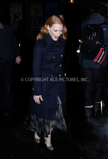 WWW.ACEPIXS.COM . . . . .  ....January 17 2012, New York City....Jessica Chastain made an appearance at the 'Late Show with David Letterman' on January 17, 2012 in New York City.....Please byline: CURTIS MEANS - ACE PICTURES.... *** ***..Ace Pictures, Inc:  ..Philip Vaughan (212) 243-8787 or (646) 679 0430..e-mail: info@acepixs.com..web: http://www.acepixs.com