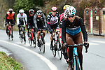 The breakaway group featuring Tony Gallopin (FRA) AG2R, Alessandro De Marchi (ITA) and Nicolas Roche (IRL) BMC, Rory Sutherland (AUS) UAE, Jarlinson Pantano (COL) Trek-Segafredo, Thomas De Gendt (BEL) Lotto-Soudal, Amael Moinard (FRA) Fortuneo and Jesus Herrada (ESP) Cofidis during a wet miserable Stage 7 of the 2018 Paris-Nice running 175km from Nice to Valdeblore la Colmiane, France. 10th March 2018.<br /> Picture: ASO/Alex Broadway   Cyclefile<br /> <br /> <br /> All photos usage must carry mandatory copyright credit (&copy; Cyclefile   ASO/Alex Broadway)