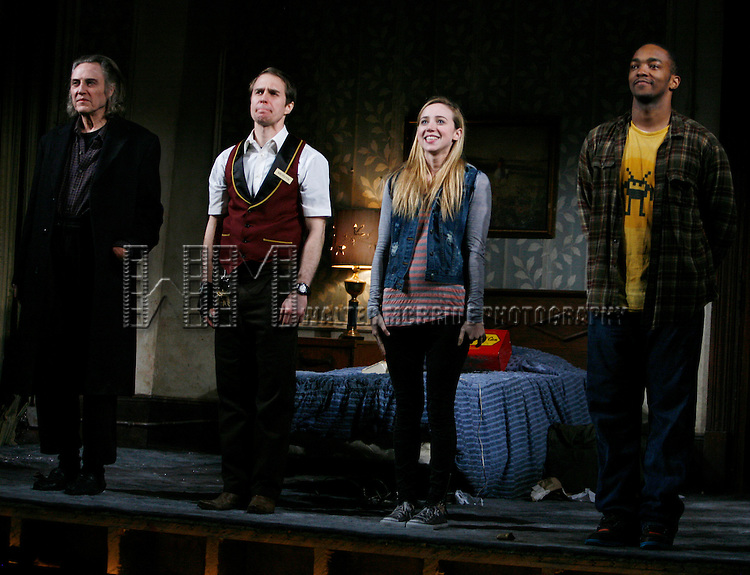 "Christopher Walken, Sam Rockwell, Zoe Kazan & Anthony Mackie.during the Broadway Opening Night Performance Curtain Call for ""A Behandling in Spokane"" at the Gerald Schoenfeld Theatre in New York City..March 4, 2010.© Walter McBride"