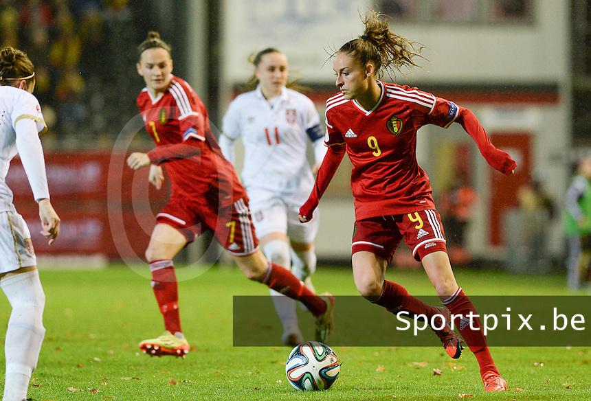 20151130 - LEUVEN ,  BELGIUM : Belgian Tessa Wullaert  pictured during the female soccer game between the Belgian Red Flames and Serbia , the third game in the qualification for the European Championship in The Netherlands 2017  , Monday 30 November 2015 at Stadion Den Dreef  in Leuven , Belgium. PHOTO DAVID CATRY