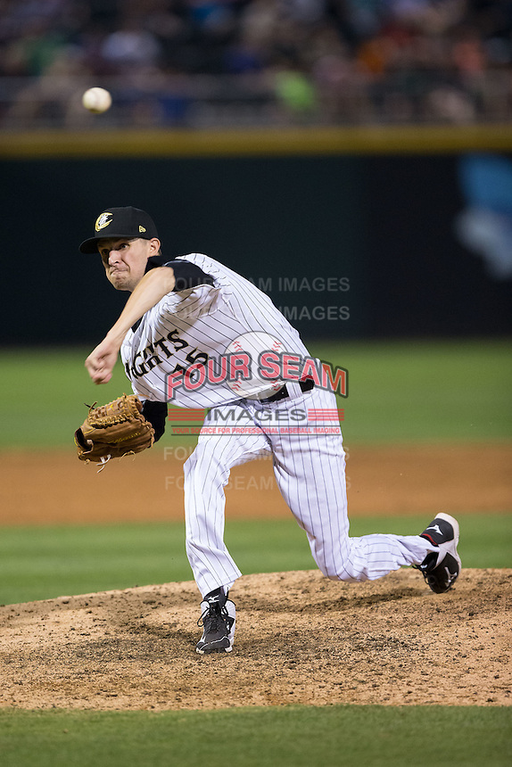 Charlotte Knights relief pitcher Will Lamb (15) in action against the Lehigh Valley Iron Pigs at BB&T BallPark on June 3, 2016 in Charlotte, North Carolina.  The Iron Pigs defeated the Knights 6-4.  (Brian Westerholt/Four Seam Images)