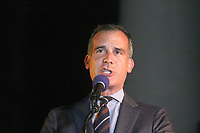 LOS ANGELES - JUN 15:  Eric Garcetti at the Bat Signal Lighting Ceremony to honor Adam West at the Los Angeles City Hall on June 15, 2017 in Los Angeles, CA