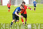 Tralee Dynamos Uros Ivkovic and Athlone Town's Brien Gill.