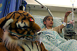 Adham Takatka, 6, a Palestinian boy from the village of Marak Mu' Ala in the Bethlehem district, West Bank is seen in Hadassah Hospital . Adham had a transplant of bone marrow received from his young brother Mohammed in the Hadassah Hospital.  Adham has blood tests twice a week in Hadasssah. Photo by Quique Kierszenbaum.